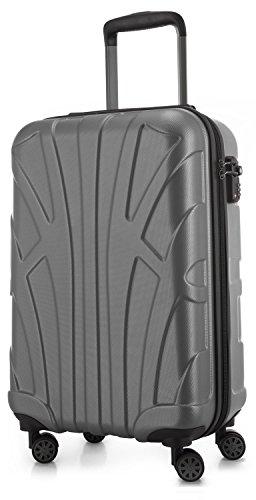 Suitline - Bagaglio a mano Valigia Trolley da Cabina rigido TSA ABS 4 ruote, S (55cm), 34 litres, Argento