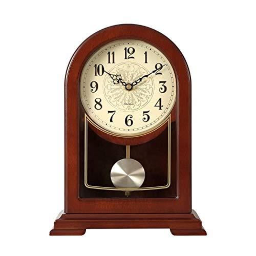 ZJ-CLOCK Reloj con Chimenea Vintage, Adornos De Chapa De Madera Arqueada, Diámetro...