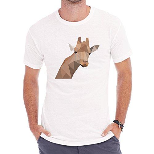 Giraffe Head Neck Brown Black Eyes Herren T-Shirt Weiß