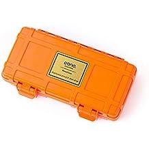 Eono Essentials - Humidor de viaje para puros hermético, resistente y a prueba de golpes, hecho de madera de cedro impermeable con capacidad para 3 puros (naranja)