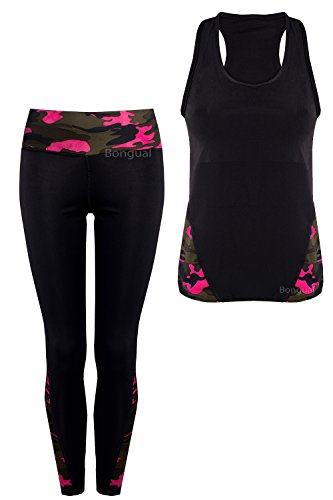 Damen Zweiteiler Hausanzug Sportanzug Tanktop+Leggings Set Tarn L/XL Pink