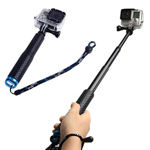 Bastone Selfie, CAMTOA Selfie Stick Impermeabile, Regolabile Monopiede Telescopico Extension((7-19 pollici),Telescopica Portatile Pole Monopiede per GoPro HD Hero 5/4/3 + / 3/2/1 (Nessuna Bluetooth)
