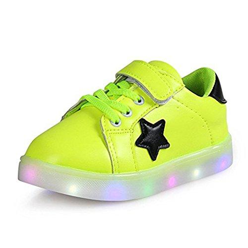 Kinder Junge Mädchen LED Schuhe Bunte Leuchtend Sneakers Turnschuhe Led Sportschuhe Kinderschuhe Grün