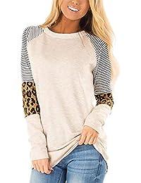 Odosalii Damen Pullover Rundhals Oberteil Damen Langarmshirts Sweatshirt T-Shirt Elegante Leoparden Splice Bluse Tops