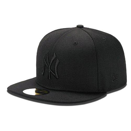 NEW ERA 59FIFTY BLACK ON BLACK NY YANKEES CAP ++ Größe 7 7/8 Black Wool Cap