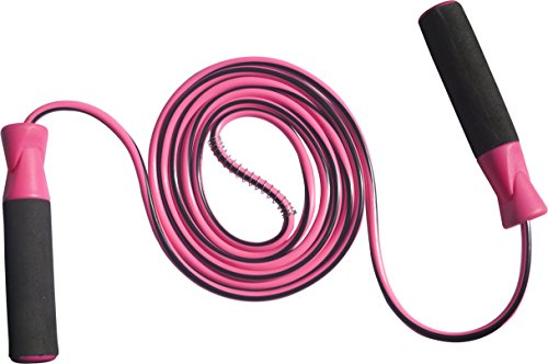 Speed Jump Rope With Ball Bearings for Cardio Fitness Training - Best for Fitness Workouts, Jumping Exercise, Skipping, MMA and boxing - by Powermax Fitness (Pink-Black)  available at amazon for Rs.170