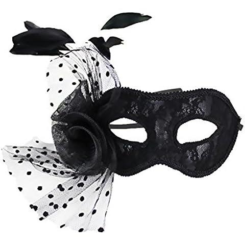 Máscara Veneciana Partido Pluma de Mascarada Bola Carnaval Disfraces Negro