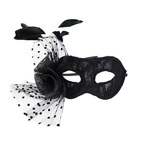 Maskenball Feder Maske (Lamellens Party Maske Feder Maskenball Abendkleid Des Karnevals Schwarz)