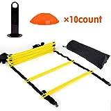 DEWIN Agility Ladder - 12 Peldaños Planos Ajustables y 10 Conos (Naranja/Amarillo) para Fo, Kit de Ejercicios de Entrenamiento Rápido