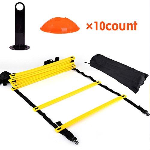 Agility Ladder - 12 verstellbare Flache Sprossen und 10 Kegel (orange/gelb) für Fo, Speed   Training Drills Kit (Speed-skate Kit)
