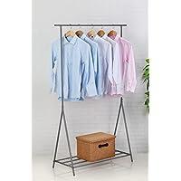 Caecias Perchero de metal para prendas Soporte para colgar ropa 160 x 100 x 40 cm (Gris)
