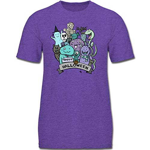 Anlässe Kinder - Happy Halloween Monster - 104 (3-4 Jahre) - Lila Meliert - F130K - Jungen Kinder T-Shirt