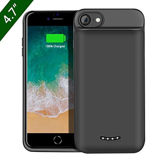 Beefix Cover Batteria per iPhone 8 7 6S 6, 5000mAh Custodia Batteria Portatile Ricaricabile Caricabatterie Power Case Protettiva Batteria Esterna Cover per Apple iPhone 8 7 6S 6 (4.7'), Nero