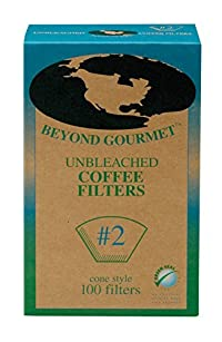 Beyond Gourmet Disposable Coffee Filter Cone, Number 2-Size Filter, Brews 2 to 6-Cup, Box of 100