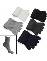 Malloom® 5 pares moda hombres Cinco dedos calcetines del dedo del pie separados mezcla de algodón cómodo caliente calcetines