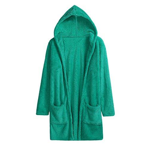 Grau Lammwolle Pullover (Mäntel Damen Sunday Hoodie Frauen Lammwolle Pure Farbe Stricken Langarm Strickjacke Pullover Oberbekleidung mit Tasche (Blau, XL))
