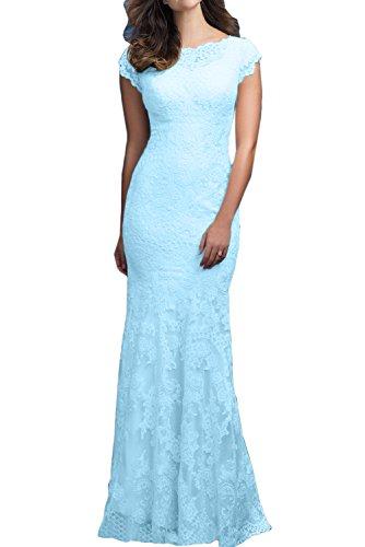 Sunvary Elegant Spitze Kurzarm Abendkleider Meerjungfrau Ballkleider Lang Mutterkleider Hellblau