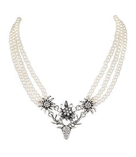 SIX Damen Kette, Collier, DREI Reihen weiße Perlen, Edelweiß, Blumen, Hirsch Geweih, silberfarben, Strasssteine, Oktoberfest (730-498)