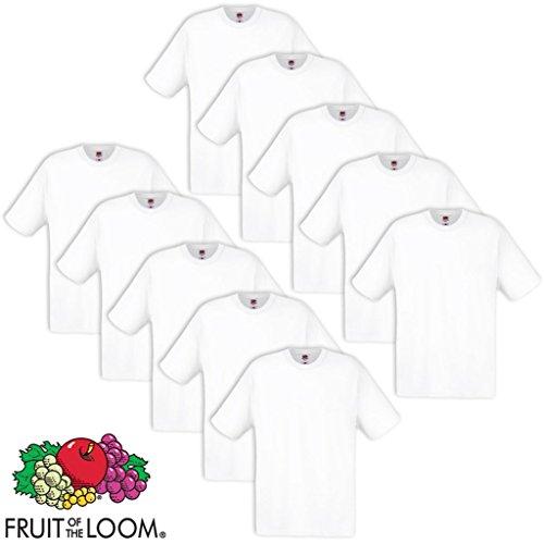 Set 5 pz Fruit of the Loom Maglietta T-shirt originale Walueweight 610360 Cotone 100% Nera Black 10x Bianco M