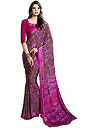 Ligalz Women's Crepe Silk Printed Saree With Unstitched Blouse Piece - L0030902_Pink And Green_Free Size