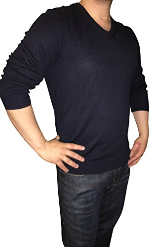 Calvin Klein Mens Extra Fine Merino Wool V-neck Sweater (Large, Navy) -