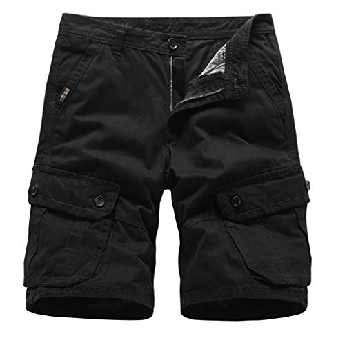 GreatestPAK Herren Pocket Kurze Hosen Einfarbig Straight Slim Fit Hosen Jeans Letter Prints Shorts,Schwarz,EU:L(Tag:34) -