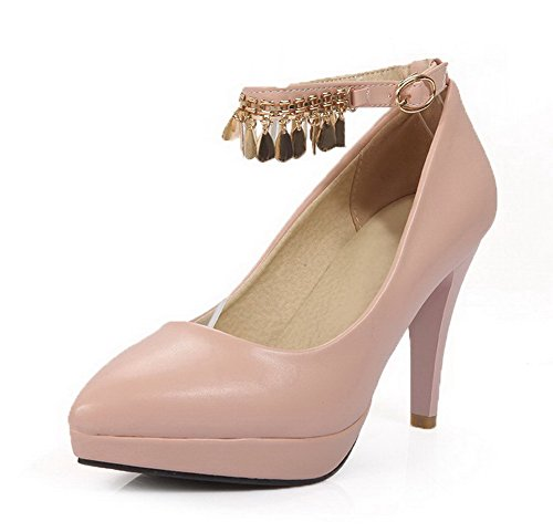 AgooLar Femme Mosaïque Pu Cuir à Talon Haut Pointu Boucle Chaussures Légeres Rose