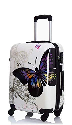 Trolley bagaglio a mano in policarbonato ultraleggero con 4 ruote (fantasia 1, 55)