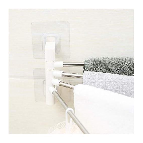 Aarya Enterprise Platinum 4 Bar Stainless Steel Folding Towel Hanging Holder Shelf Rack Organizer Portable Stand Long with Chrome Finish for Bathroom Kitchen with Hanger