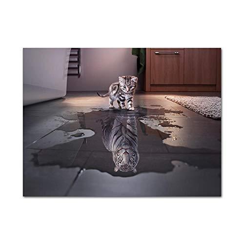 SHBKGYDL Bilder Auf Leinwand,Katze Tiger Reflexion Tier Lustig Poster Print Motiv Malerei Home Wand Kunst Bild Für Wohnzimmer Schlafzimmer Dekoration
