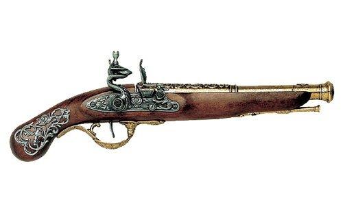 Deko Waffe Englische Steinschlosspistole, messingfarben