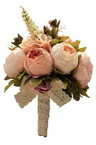Amyseller Romantischer Hochzeitsstrauß Brautjungfer Brautjungfer Brautschmuck Künstliche Pfingstrose mehrere seidige Rosen Blumen Brautsträuße für Valentinstag Kirche Fotoshooting -