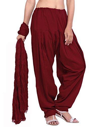 Jaipur Kurti Women's Cotton Salwar And Dupatta Set (Maroon,Free Size)