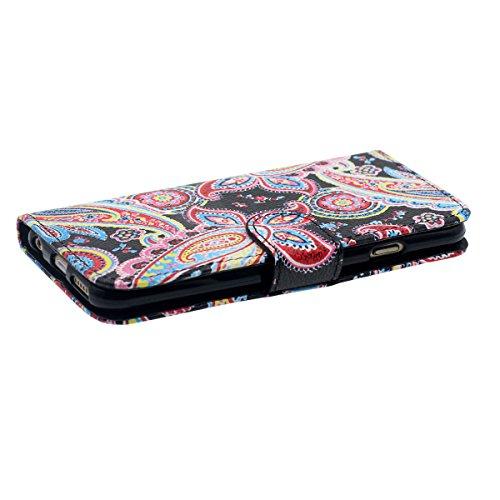 """Rabat Portefeuille Carte Titulaire iPhone 6 Coque, Mignon Tortue Motif, multi Function PU Cuir iPhone 6S 4.7"""" Housse Etui Protection Noir"""