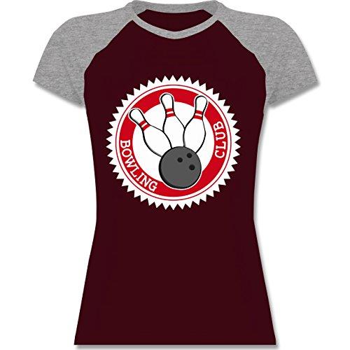 Shirtracer Bowling & Kegeln - Bowling Club Badge Abzeichen - Zweifarbiges Baseballshirt/Raglan T-Shirt für Damen Burgundrot/Grau meliert