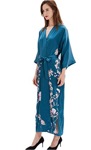 Prettystern Damen Boden-lang 100% Seide Gemusterter Kimono Morgenmantel Robe Floral Kirschblüte Sakura Petrol-blau L04
