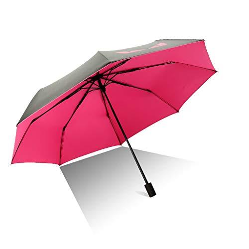 XL- Compact Travel Umbrella - Winddicht, Automatisches Öffnen/Schließen, Ergonomischer Griff, Leichte, tragbare Mini-Kompaktschirme (Farbe : Rose Rot)
