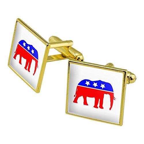Republikanische Elefant GOP Konservative America Politische Partei Manschettenknöpfe, quadratisch Set Gold Farbe (Gop-elefant)
