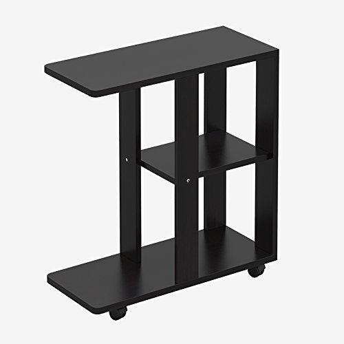 ecktisch holz D&L Holz Wasserdicht Beistelltisch, C Form Mit rädern Sofatisch Schlafzimmer Nachttisch Wohnzimmer Couchtisch Vintage Telefontisch-schwarz