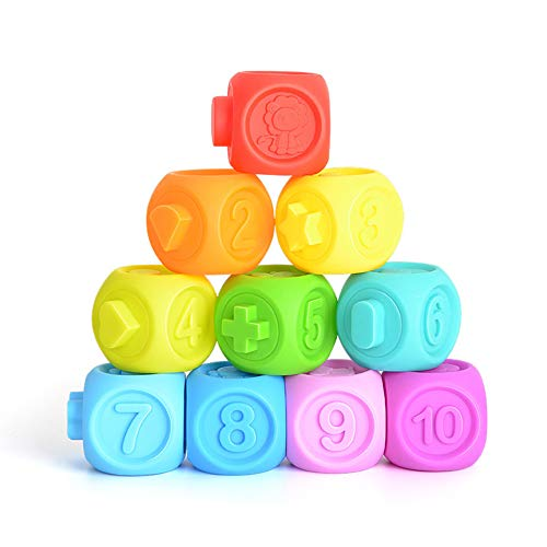12 Pcs Rubber Teether Squeeze Toy Bath Ball Toy Baby Grasp Toy Building Blocks 3d Balls Baby Massage Teethers Squeeze Toy Ture 100% Guarantee Model Building Tool Sets