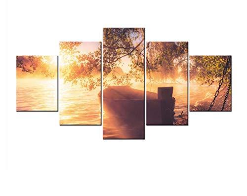 Panel Poster Schlafzimmer Serie (ACCEY Leinwanddrucke Landschaft Serie Landschaft 5 Stück Modernen Stil Günstige Bilder Dekorative Wandkunst Drucke Geschenk, Gerahmt 30X40 30X60 30X80 cm)