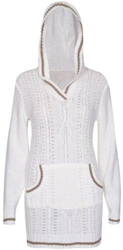 Damen Langärmlig Zopfmuster Kapuzenpullover Tasche Mit Kapuze Passform Pullover V-ausschnitt Pullover Top Kleid Creme