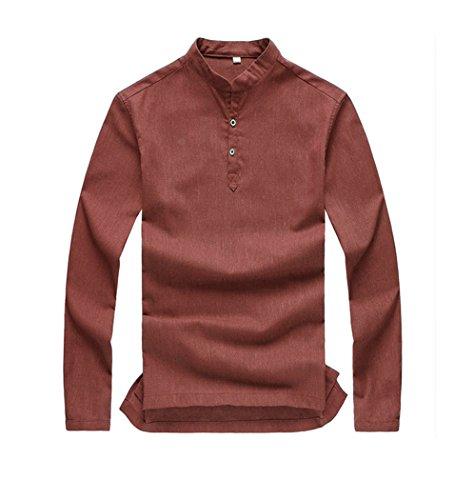 Herren Leinen Schick lässig Freizeit Langarm Shirt Orange