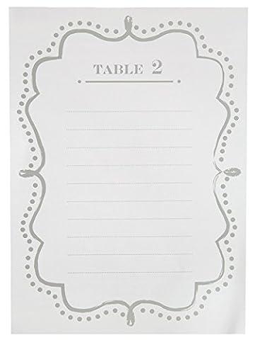 SANTEX 5128-1, Sachet de 10 Plans de table numérotés de 1 à 10, Blanc