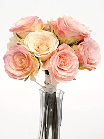 Artificial Silk Eternity Vintage Pink & Cream 9 Roses Mixed Tied Rose Bunch Wedding Flowers