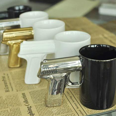 (Asdfg Kreative Persönlichkeit Wasser Tasse, Schwarze Tasse Gold Pistole)