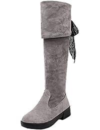 HooH Femmes Sur le genou Bottes L'hiver Simple Argent Talon Knee High Fermeture éclair Bottes d'équitation Marron 45 EU