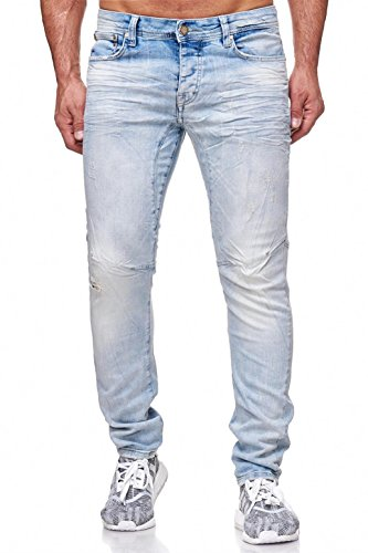 Redbridge Herren Jeans Hose Slim-Fit Röhrenjeans Anti-Fit Hellblau W30 L32