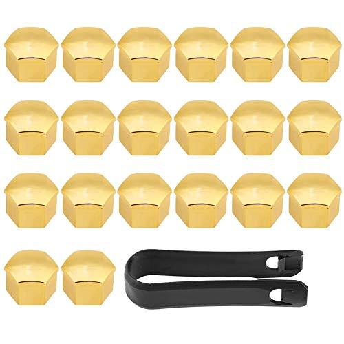 Outbit Radnabenabdeckung - 20St 17mm Universal Autoreifen Radnabenabdeckungen Radmutter Bolzen Schraube Abdeckung Schutzkappe Gold