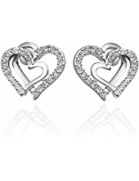 NEVI Heart In Heart Fashion Czech Drill Crystals Gold Plated Stud Earrings Jewellery for Women And Girls